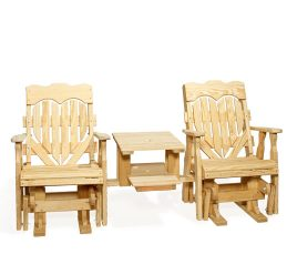 #103 High Back Heart Double Glider Settee Wood