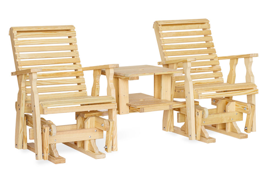 #105 Roll Back Double Glider Settee Wood