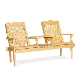 #201 High Back Heart Settee - Wooden Settees