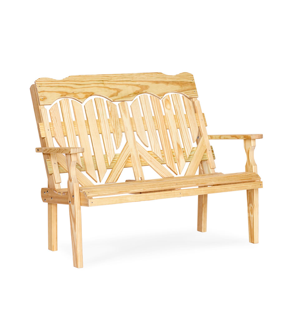 #422 4' High Back Heart Bench - Wooden Benches