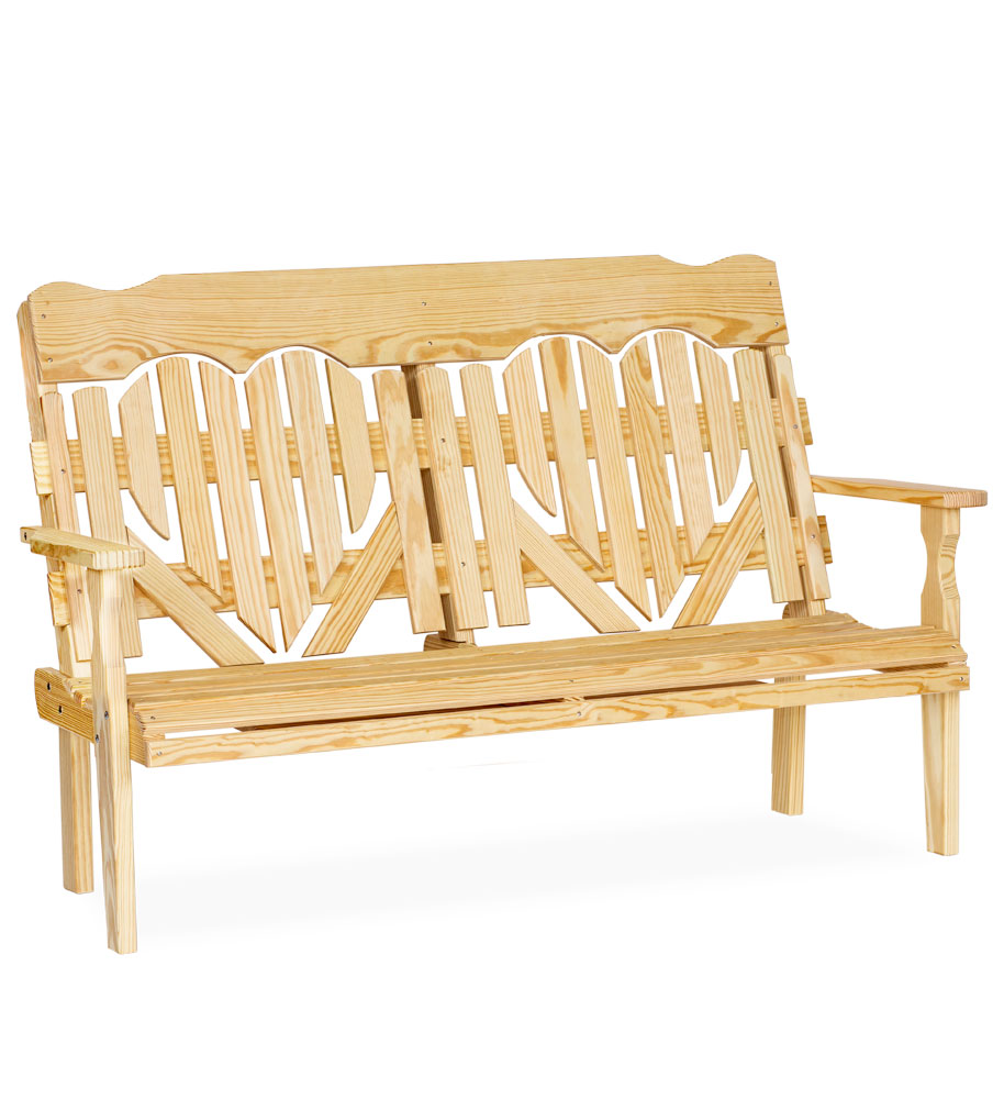 #522 5' High Back Heart Bench - Wooden Benches